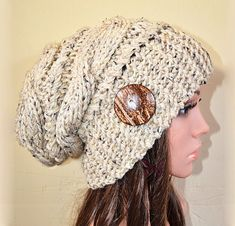 Slouchy beanie hat with button  OATMEAL Cable mix by BeanieVille