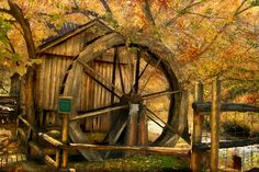 The water wheel at Old Dawt Mill, located in rural Ozark county Missouri