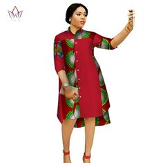 Online Shop 2017 Women Maxi Dress African Print Dresses for Women Three-Quter Sleeve Dress Women Print Clothing Plus Size BRW African Fashion Designers, Latest African Fashion Dresses, African Dresses For Women, African Print Dresses, African Print Fashion, Africa Fashion, African Attire, African Women, African Clothes