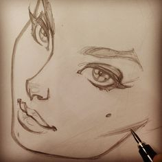 "Beautiful face illustration (original pin: In the process of creating a ""Campbell Logo""! Doodle Drawing, Drawing Sketches, Painting & Drawing, Sketching, Drawing Style, Body Painting, Drawn Art, Drawing Techniques, Cool Drawings"