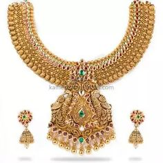 Buy Necklaces Online   Kanti Carved With CZ Pachi Pendant from Kameswari Jewellers Gold Jewelry Simple, Gold Earrings Designs, Antique Necklace, Necklace Online, Antara, Necklace Set
