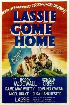 """Lassie Come Home"" (1943) Donald Crisp, Elsa Lancaster, Edmund Gwenn, Roddy Mcdowell"