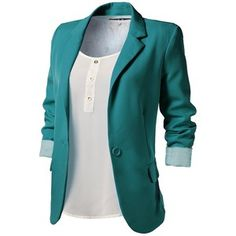 9XIS Womens Boyfriend Blazer - Polyvore LOVE the teal color, scrunched sleeves and open front!!