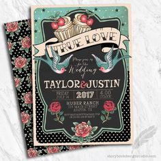 Rockabilly Wedding Invitations / Theme Set of 10 PRINTED for sale online Retro Wedding Invitations, Reception Invitations, Wedding Invitation Wording, Invitation Design, Shower Invitations, Wedding Stationery, Invitation Cards, Invite, 50s Wedding