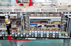 Port Canaveral, Disney Cruise Terminal.  Cut-away of the Disney Magic showing interior details.