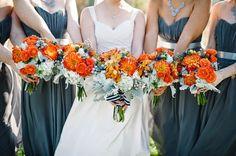 bright orange wedding bouquets for a fall wedding!  ~  we ❤ this! moncheribridals.com