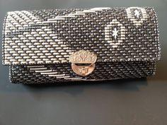Black and Silver Vintage plastic canvas purse 1970's by AmaiAru, $8.00