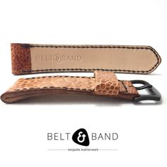 Tan Brown Ostrich Shin Leather Strap, with hand stitched edges in black waxed thread. Watch Straps, Handmade Leather, Leather Working, Hand Stitching, Belt, Brown, Accessories, Belts, Watch Bracelets
