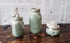 Mason jar bathroom set green