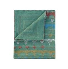 Queen Size Solid Green Color Kantha Quilt Hand Embroidered Kantha Blanket