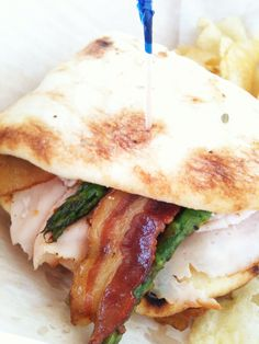 Turkey, bacon, grilled asparagus and blue cheese on flatbread-from Crave Cafe in Louisville
