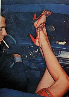 vintagebinger:  She must've dropped her compact way down below … Red slingbacks with blue and green patent tile trim from Customcraft by Ros...