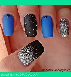 Matte Nails with Glitter | Claudia C.'s (claudia) Photo | Beautylish