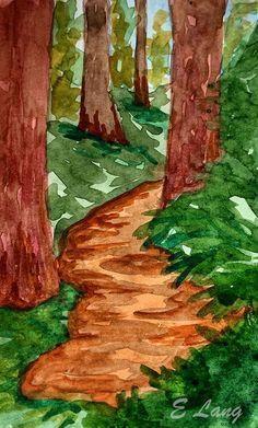 Atlanta artist Elizabeth Lang. Watercolor artist. Affordable Wall Art, Redwood Forest, Evergreen, Watercolor Paintings, Original Artwork, Atlanta, Landscape, Artist, Nature