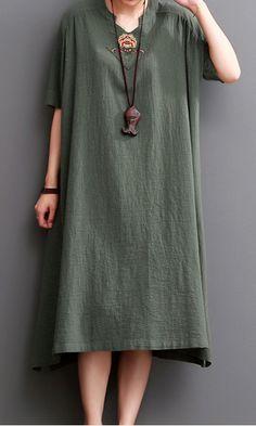 Blackish green linen dress plus size linen sundresses maxi dress