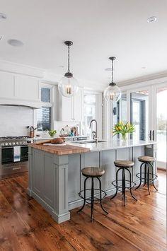 White kitchen is never a wrong idea. Elegant White Kitchen Design Ideas for Modern Home Grey Kitchen Island, Grey Kitchen Cabinets, Kitchen Flooring, Kitchen Islands, Kitchen White, White Cabinets, Kitchen Island Butcher Block, Kitchen Countertops, Kitchen Island Overhang