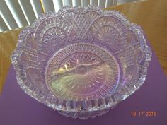 """L E Smith Pink Iridescent Carnival Glass Bowl RARE 6 1 2"""" Hobstar Feather Mint   eBay"""