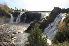 The Chutes de la Chaudiere were an impressive set of segmented waterfalls about tall falling side by side to each other. Canada, Quebec City, Recherche Google, Waterfalls, Levis, Urban, River, World, Outdoor