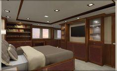Nordhavn 120-Master Stateroom-Aft View-Custom Yacht Interior Design-Destry Darr Design
