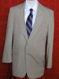 Jos A. Bank Tan Cotton/Polyester Blend Two Button Suit Size 40R #JosABank #TwoButton