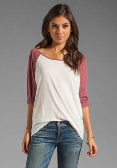 RVCA tees fit so well too! RVCA Label Ziggy Baseball Tee in Marshmellow/Berry Casual Outfits, Cute Outfits, Fashion Beauty, Womens Fashion, Revolve Clothing, Autumn Winter Fashion, Lounge Wear, What To Wear, Clothes For Women