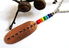 Seven Chakras Necklace Reiki Namaste Copper Pendant  by Hendywood, $20.00