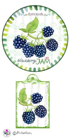 Circle jam label blackberry jam label printable by Pinturicon