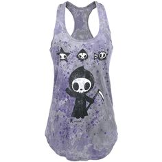 Girl top by Tokidoki:  - round neck - soft jersey - batik effect - individual wash - racer back - loose fit  If only death was truly as cute as the tiny grim reapers on the girl's top Ciao Ciao... the Grim Reaper merrily waves at you from the house of Tokidoki. A few of his friends are scattered on the front and racer back done with batik work.