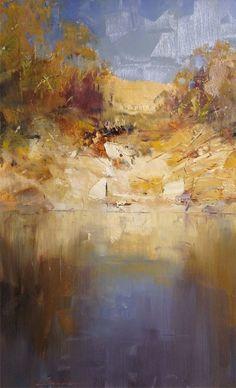 Wow...shades of Arthur Streeton. - Rock Face. Oil, 66.5 x 40 cm. Ken Knight: