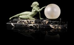 Fayral (pseudonym for Pierre Le Faguays) 'Seduction' an Art Deco Patinated Art Metal Figural Lamp, circa 1925