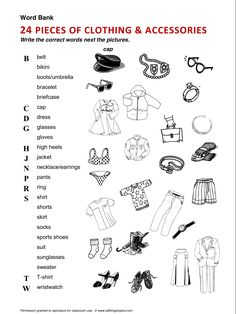 Clothing and Fashion, Clothes, vocabulary, ESL, English phrases, http://www.allthingstopics.com/clothing-and-fashion.html