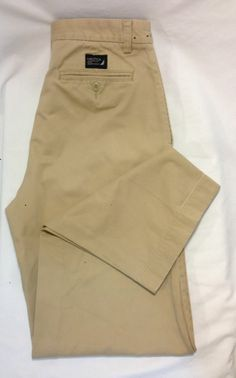 NAUTICA PANTS 32X34 TAN CHINO KHAKI FLAT FRONT UNCUFFED MENS 100% COTTON DENIM #fashion #style #shopping #clothing #ebaycollections #springtastic