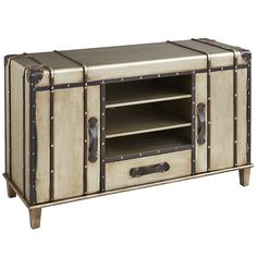Modern functionality pairs with vintage charm to create this TV stand inspired by steamer trunks popular in the late 1800s. Configured for today's media and electronic components, Bristol features a dual open-shelf center flanked by cabinets (all with adjustable shelves) and a roomy center storage drawer. With its antiqued silver finish, as well as wood and faux leather accents, it conveys a retro vibe that easily enhances a masculine bedroom, library or den.