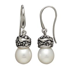 Honora Sterling Silver Fresh Water Cultured Oval Pearl Drop Earrings
