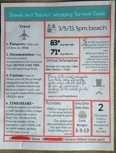 Destination wedding info letter to give to those guests who have never been to that place of destination. Contact Personal Travel to book your next trip and ask about our Honeymoon Registry and Vacation Layaway! www.personaltravelonline.com 1-877-484-2835