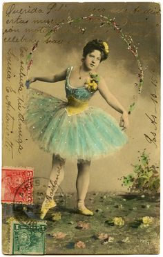 Old Photo - Pretty Ballerina with Aqua Tutu - The Graphics Fairy