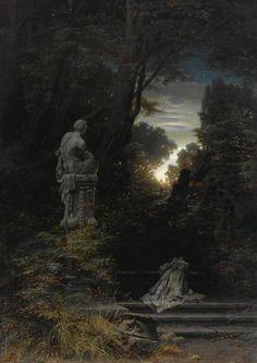 A Woman At A Fountain With Rising Moon, 1866, Ferdinand Knab