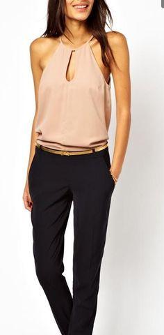 4a390f9e2230 Halter neck jumpsuit Nude Halter Jumpsuit with Black Dress Pants