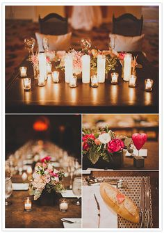 Decorate with votive candles in varying heights for a dramatic effect that will also cast a flattering glow.  Photo by Studio Castillero via 100 Layer Cake