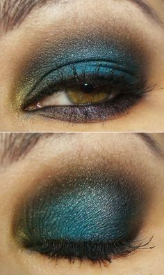 Dark blue sparkle with smokey outer edge, pop of yellow on the tear duct area, and plum liner on bottom.... Stunning