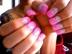 Barbie pink sparkly nails