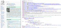 Screenshot of the HTML of wikipedia.com