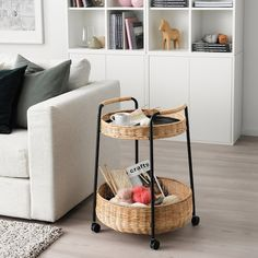 LUBBAN Serving cart with storage, rattan, anthracite - IKEA Rattan Furniture, Handmade Furniture, Trolley Table, Serving Cart, Bedside Cabinet, Nightstand, Easy Home Decor, Furniture Making, Cheap Furniture