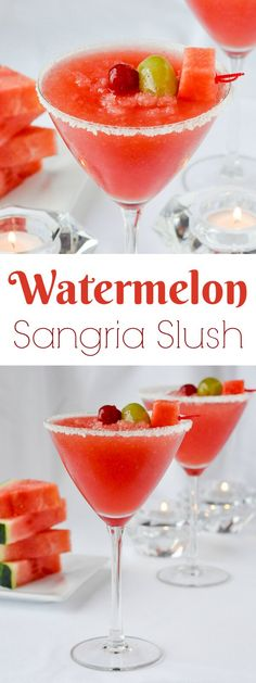 Watermelon Sangria Slush - an easy, economical, refreshing and festive cocktail idea that's great for every occasion from Holiday parties to summer barbecues.