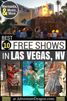 Las Vegas Shows - a guide to the 10 Best Free Shows in Las Vegas featuring free circus shows free mermaid shows an erupting volcano an indoor rainstorm Venetian Carnival free musical performances and more. Las Vegas Vacation, Travel Vegas, Las Vegas Attractions, Vegas Getaway, Las Vegas Shopping, Las Vegas Restaurants, Las Vegas Free, Visit Las Vegas, Viajes