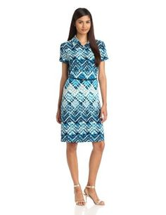 Anne Klein Women's Argyle Print Dress, Capri Multi, Medium