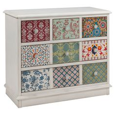 decoupage drawers? cute! Organize craft supplies in the study or stow board games in the den with this charming wood chest, showcasing a patchwork-inspired motif.  ...