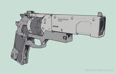 Prototype Revolver Sketch by Archie Whitehead Sci Fi Weapons, Armor Concept, Weapon Concept Art, Fantasy Weapons, Weapons Guns, Zombie Apocalypse Weapons, Armas Wallpaper, Future Weapons, Gun Art