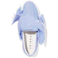 Joshua Sanders Knotted striped cotton-poplin slip-on sneakers (4.460.930 IDR) ❤ liked on Polyvore featuring shoes, sneakers, slip on trainers, neon sneakers, pastel sneakers, slip on sneakers and slip on shoes