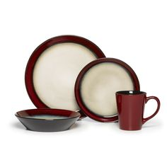 This contemporary 16-piece dinnerware set features durable construction and casual style. Dishwasher safe for easy cleanup, this stoneware set provides everything you need to set a more attractive table for everyday meals and more casual occasions.